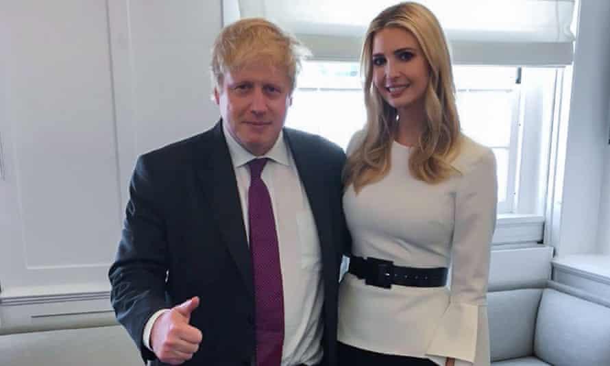 Boris Johnson and Ivanka Trump from his Instagram feed.