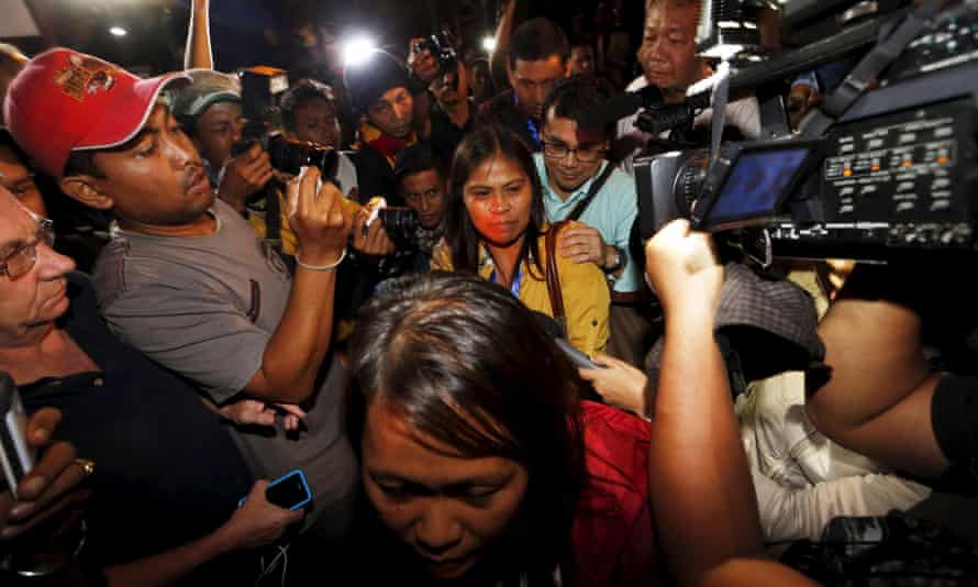 Two relatives of Mary Jane Veloso after returning from the prison island of Nusa Kambangan after hearing of her reprieve