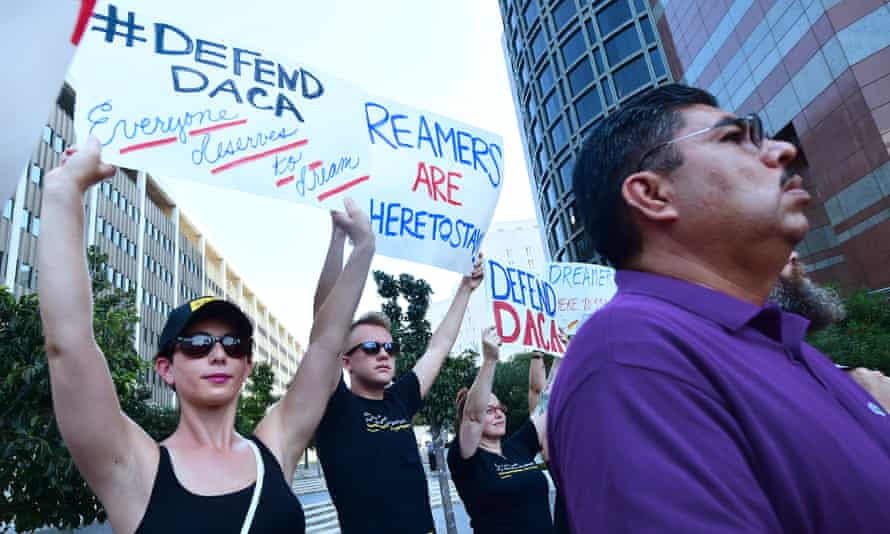 Protesters rally in support of Deferred Action for Childhood Arrivals (Daca) in Los Angeles.