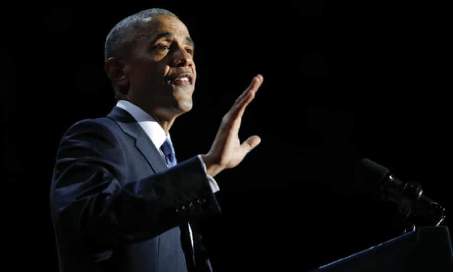 Barack Obama giving his farewell address in Chicago.