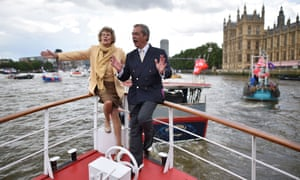 Kate Hoey and Nigel Farage on a passenger boat on the river Thames during the EU referendum campaign.