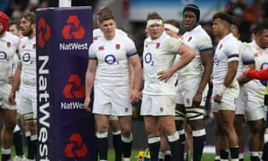 Dejected England players take a breather against Ireland in the Six Nations encounter at Twickenham on Saturday.