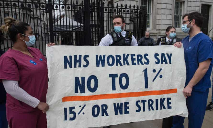 NHS staff protest outside Downing Street in March