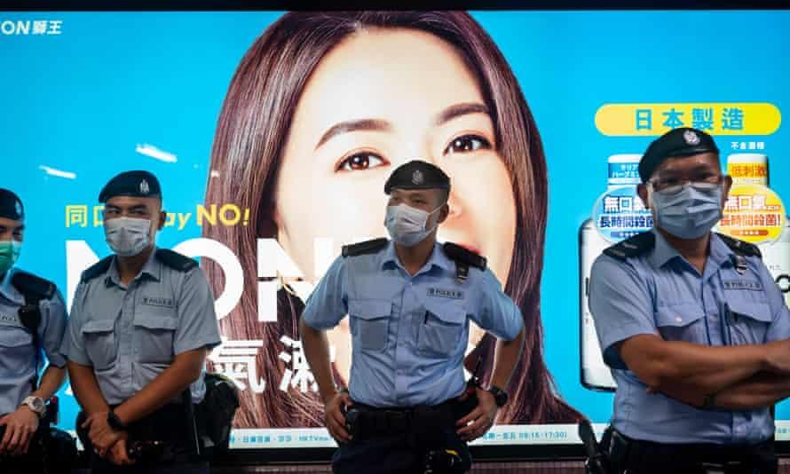 Police officers on guard in Hong Kong last week.