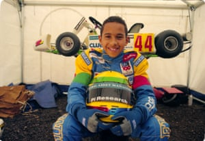 Lewis Hamilton as a 12-year-old go-kart champion in October 1997.