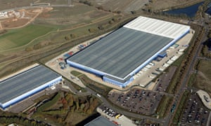 An aerial view of the John Lewis and Waitrose distribution warehouses at Magna Park near Milton Keynes.