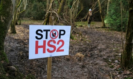 A sign in woodland reading 'stop hs2'