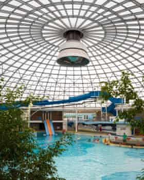 Inside the pool at the centre.