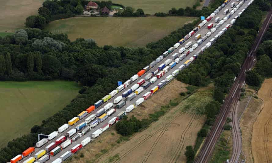 Lorries queued as part of Operation Stack along the M20 in Ashford, Kent.