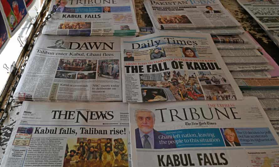 Newspapers in Pakistan on Monday carry news about the fall of Kabul