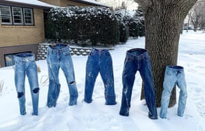 Minnesota, U.S.Frozen pairs of jeans stand unsupported in Saint Anthony Village.