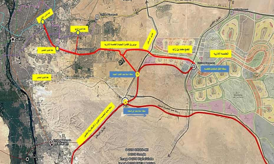 A map of planned transport links to the new capital shows Cairo on the far left.