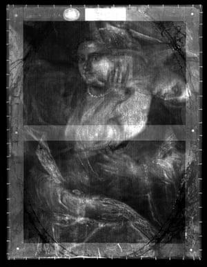 X-Ray of Titian's Mistress © English Heritage/Hamilton Kerr Institute.