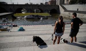 Madrid residents take in the scene.