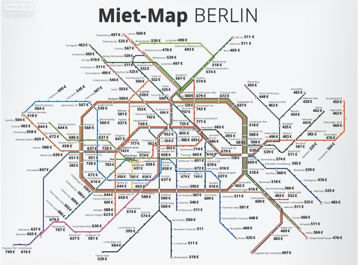 How Much It Costs To Rent In Berlin Mapped By Its Metro Stations - Berlin us bahn map