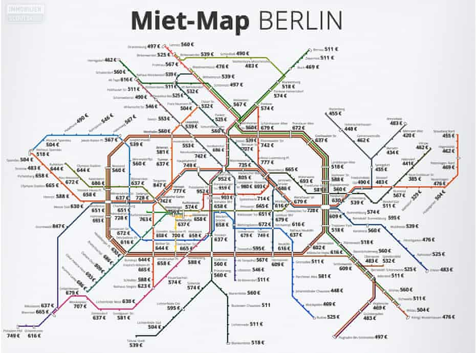 Map of Berlin average rents by subway station