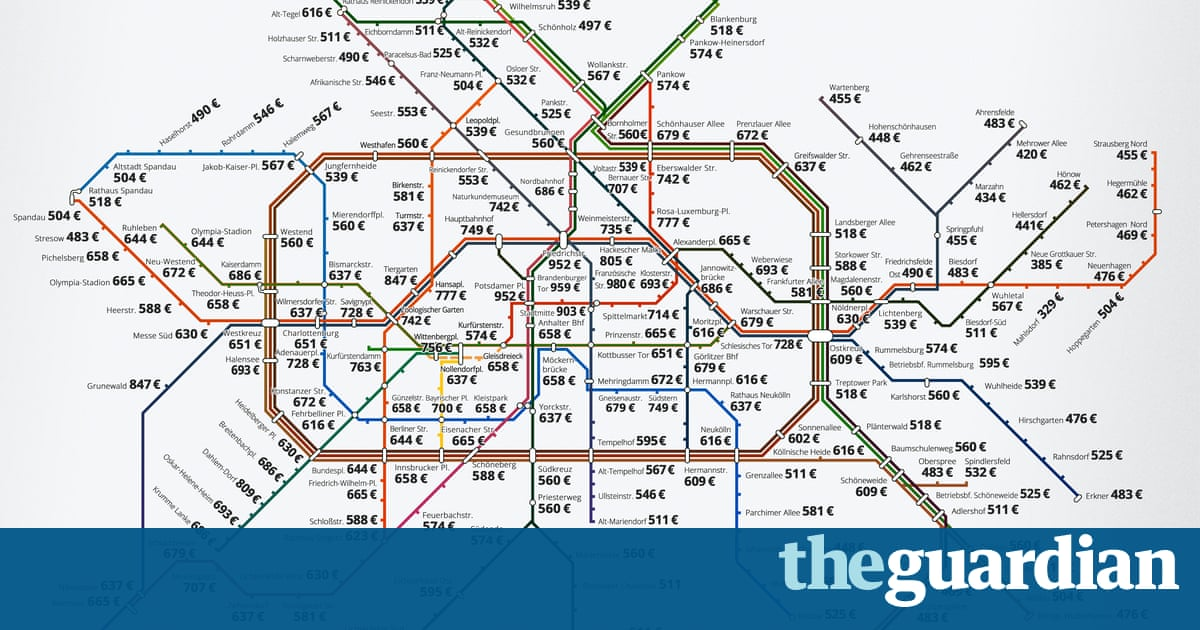 How Much It Costs To Rent In Berlin Mapped By Its Metro Stations - Berlin map 2017