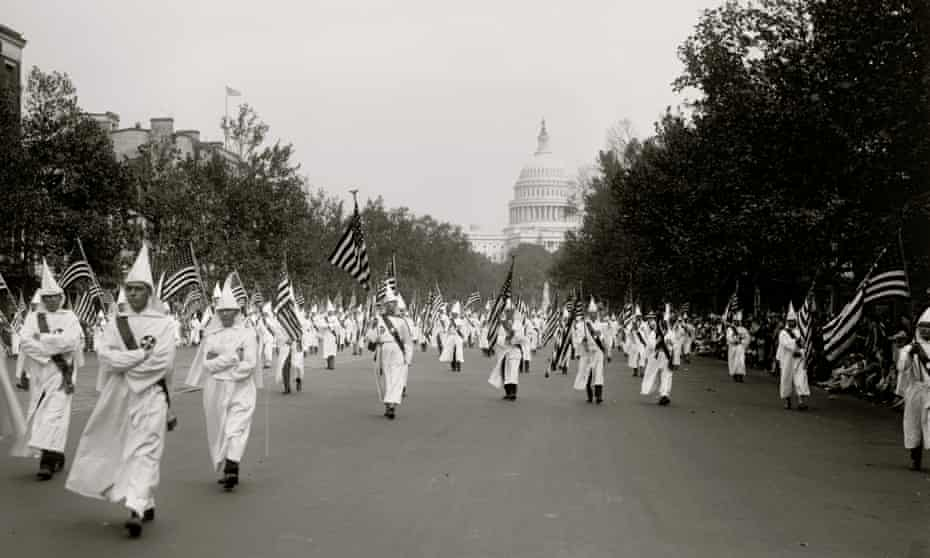 A 1927 Ku Klux Klan parade in Washington DC.