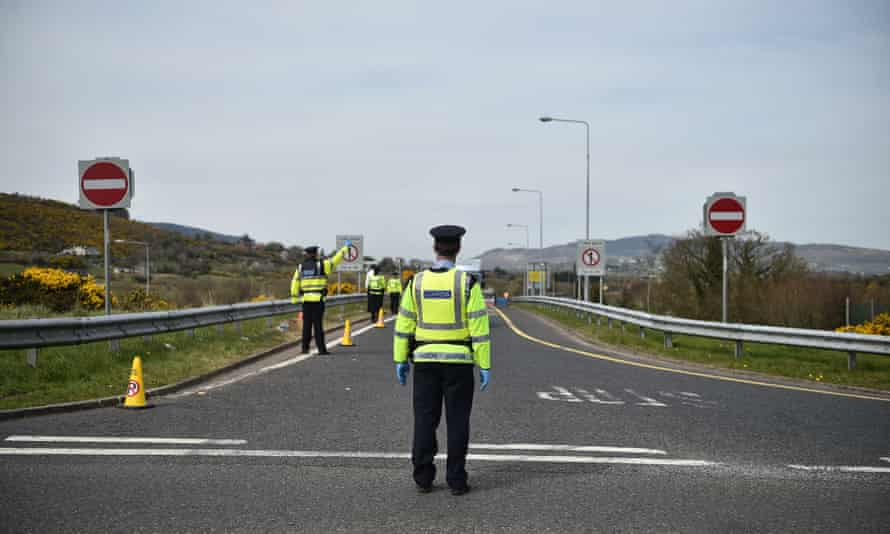 Gardai man the checkpoint for non-essential travellers