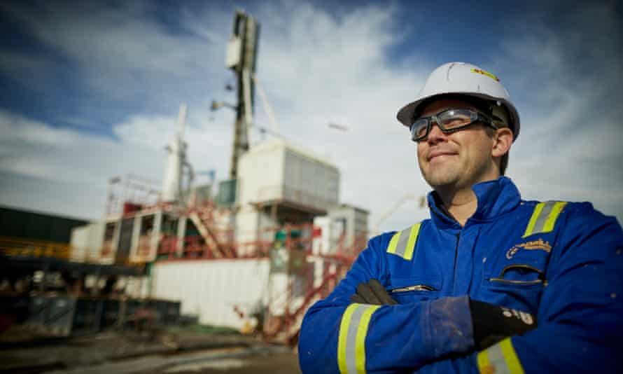 Cuadrilla health and safety manager Nick Mace with the drilling rig.