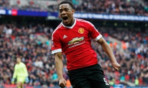Manchester United's Anthony Martial celebrates scoring their winner against Everton