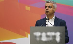 The Mayor of London, Sadiq Khan, gives a speech during the inauguration of the new Switch House.