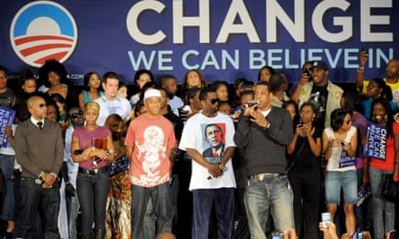 Kevin Liles, Mary J Blige, Russell Simmons, Puff Daddy, and Jay Z on stage at the Last Chance For Change Rally in support of Barack Obama on 2 November 2008 in Fort Lauderdale, Florida.