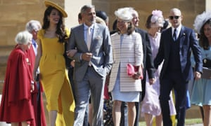 (L) Amal and George Clooney, and Tom Hardy (R) arrive at St George's Chapel with other guests.
