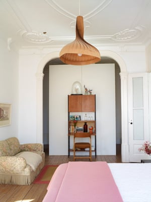 Bedroom, with vintage light and De Mayoralgo's grandmother's sofa
