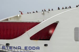 Passengers on Stena Line's Irish Sea ferry Stena Edda at the company's Birkenhead terminal, UK. Passengers were stranded overnight after crew members tested positive for Covid-19