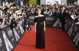 Seoul, South Korea. Scarlett Johansson on the red carpet during an appearance to promote her latest film Ghost in the Shell