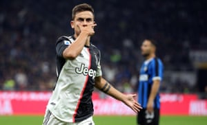 Paulo Dybala performs his mask celebration after scoring against Internazionale in October.