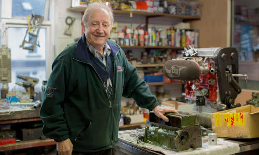Mervyn Johnson in his garage in Pettigo