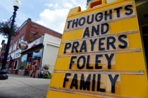 A sign seen in James Foley's hometown in Rochester, New Hampshire the day after his killing