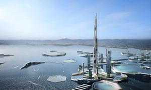 A rendering of the 'Next Tokyo 2045' project, including a mile-high skyscraper.