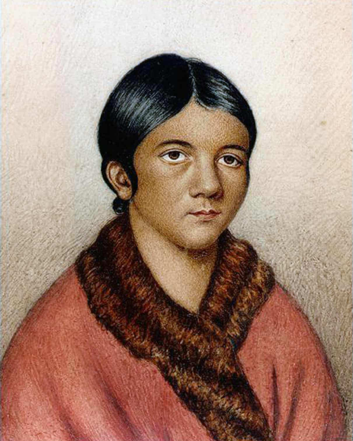 A miniature portrait titled 'A female Red Indian of Newfoundland' which some sources date to 1841. It is believed to be a portrait of Shanawdithit, a Beothuk woman. Most likely a painted copy of Portrait of Demasduit (Mary March), by Lady Henrietta Hamilton (1819.