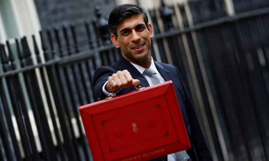 Chancellor of the Exchequer Rishi Sunak holds the budget box