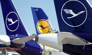 Lufthansa aircraft are parked on the tarmac in Frankfurt, Germany 24 March 2020.