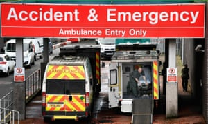 Ambulances sit outside the accident and emergency department at the Glasgow Royal hospital