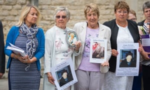 Relatives of people who died at Gosport War Memorial hospital outside Portsmouth Cathedral after the disclosure of the report.