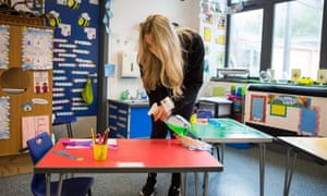 Staff clean classrooms as pupils return to their first day back of school at Williamstown primary school, South Wales, 29 Jun 2020.