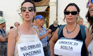 A protest in Rome in June last year against proposals for compulsory vaccinations