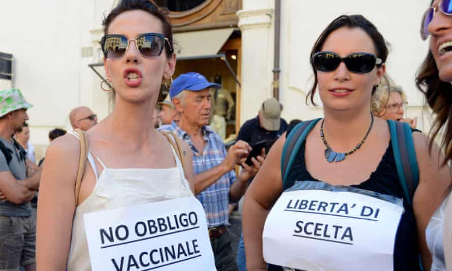 A demonstration in Rome against the Italian decision to make vaccinations against 16 diseases a condition of entry to school at six