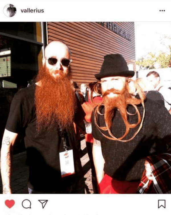 Vallerius (left) with Garey Faulkner at the 2015 World Beard and Mustache Championships in Austria