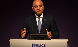 Sajid Javid speaks at the Police Federation conference