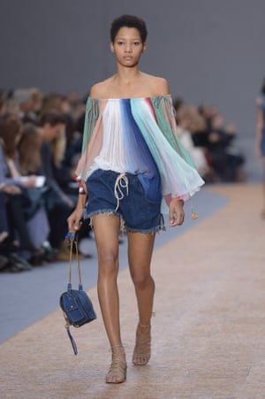 A model on the Chloe catwalk for spring/summer 2016.