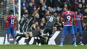 Soyuncu celebrates scoring the opener for Leicester.