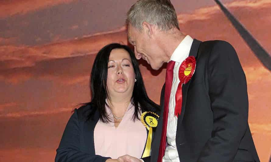 Kirsten Oswald of the SNP is congratulated by Scottish Labour leader Jim Murphy after winning East Renfrewshire.