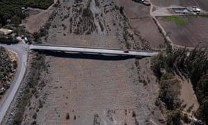 The dry La Ligua river in Petorca province, Valparaiso, Chile.