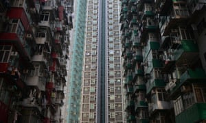 A general view shows residential estates in Hong Kong